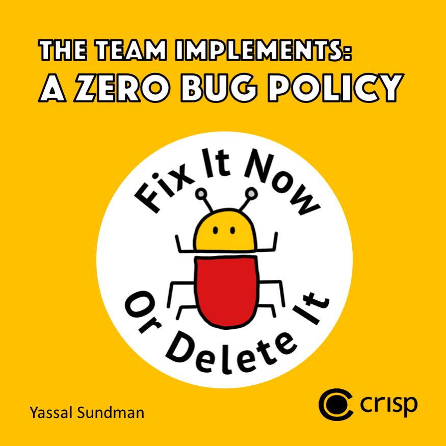Cover of the book 'A Team Implements a Zero Bug Policy' with the title displayed as well as an image of a bug with the logo 'Fix it now or delete it'