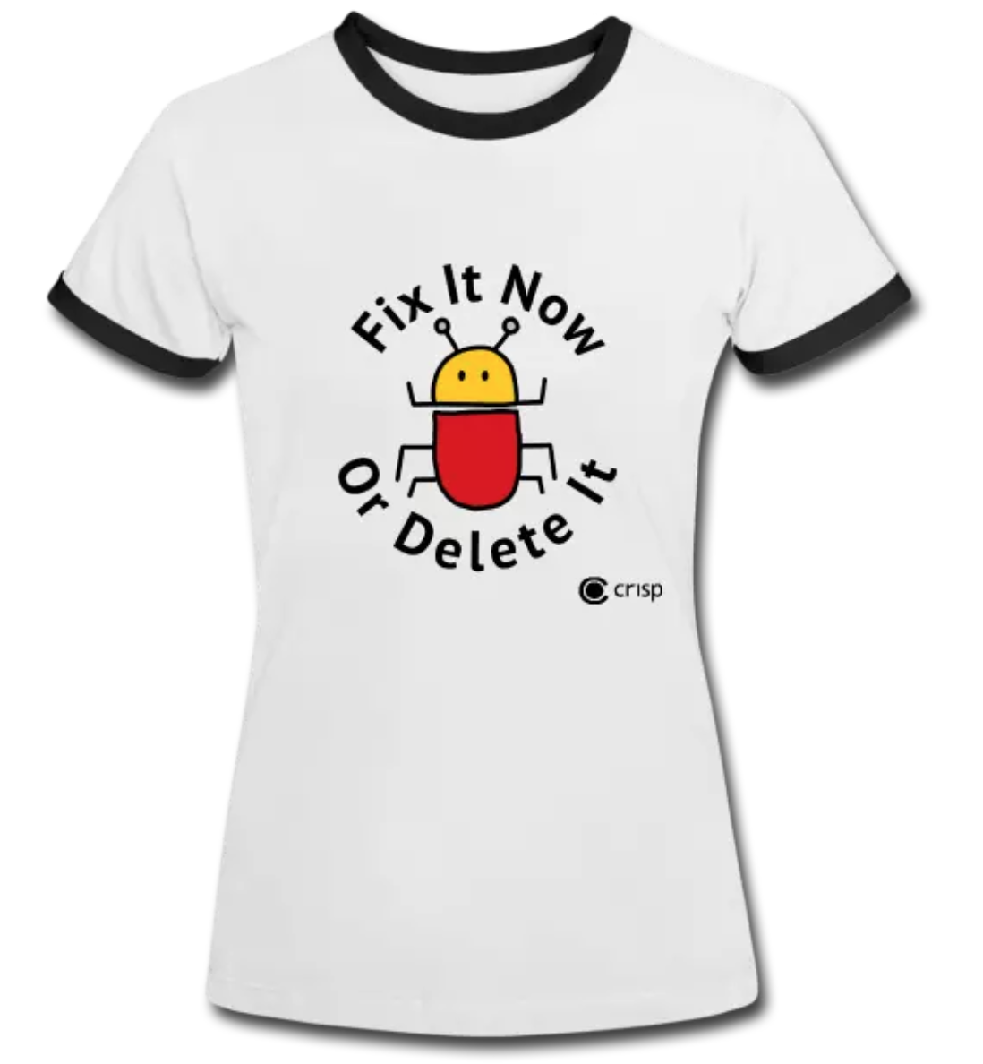 White t-shirt with black collar with the logo picturing a bug and the text - Fix it now or delete it